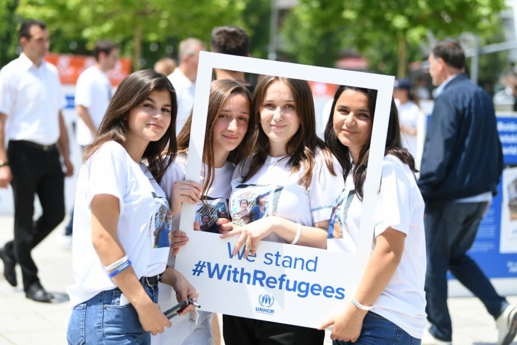Children youth and passers-by mark World Refugee Day event on 20 June 2018, Prishtina/ Pristina